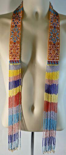 "Native American Style 56"" Beaded Sash Bright Multi Color Design With Fringe"