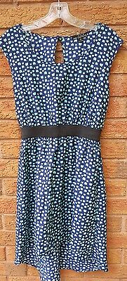 One Clothing Women's Sz Small High Low Tunic Dress Navy Blue/Mint Casual -