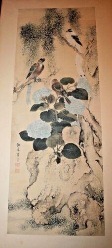 Yosa Buson Painting on Silk Rare Museum Antique Japanese Art Scroll Birds Flower
