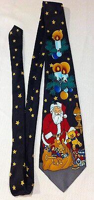 ADOLFO Tie HOLIDAY SEASON CHRISTMAS PARTY SANTA TOYS RED BLUE GOLD WHITE