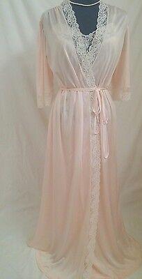 "Vintage Miss Elaine Long 150"" Sweep Nylon Nightgown & Peignoir/Robe Size S/M~"