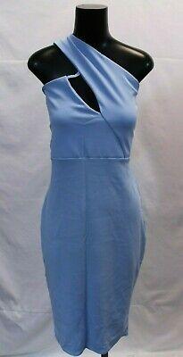 Boohoo Womens Plus High Neck Cut Out Detail Midi Dress ML3 Blue Size US:14 UK:18