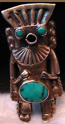 Navajo attr Phillip Long Kachina Pin Natural Bisbee Turquoise Sterling Silver