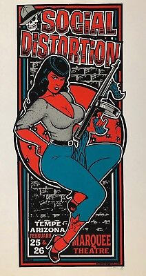 Rare 2006 Social Distortion Pinup Doll Silkscreen Poster Tempe Arizona Mike Ness
