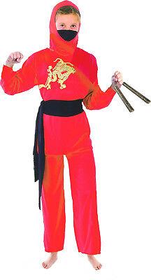 Rotes Ninja Kostüm Gr. 110-146 Nunchuk wählbar Krieger Kämpfer Fasching Mädchen