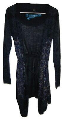 Womens Desigual Long Cardigan Jumper Blue Sweater Coat Thin Jacket M Medium