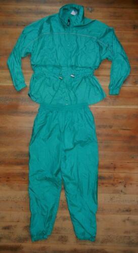 Vtg BIKE Teal Green Nylon TRACK SUIT Windbreaker Jacket Pants Gym Women