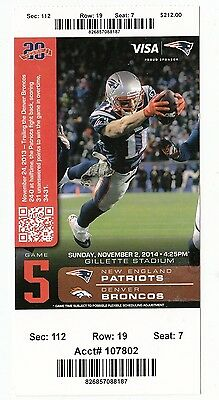 2014 NEW ENGLAND PATRIOTS VS DENVER BRONCOS TICKET STUB 11/2/14 MANNING VS BRADY