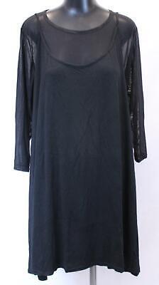 Boohoo Women's Plus Bethanie Mesh 2 in 1 Cami Dress JH7 Black Size US:20 NWT
