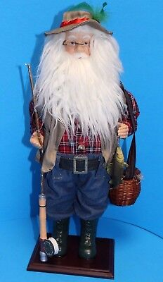 "LORD & TAYLOR Large 20"" FLY FISHING FISHERMAN SANTA Figure in Original Box](Large Santa Figure)"