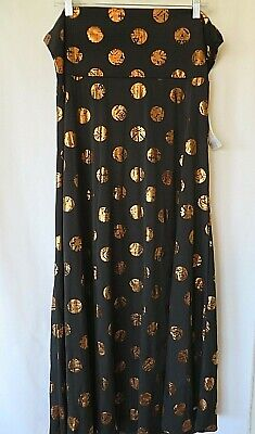 LuLaRoe Maxi Skirt Fold Down Waist Black w Gold Metallic Circles Size 3XL - Gold Metallic Skirt