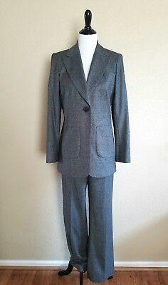 Lafayette 148 Tweed Pant Suit Gray Wool Silk Womens Jacket  6 Slacks 8 Menswear Suiting Menswear Pant