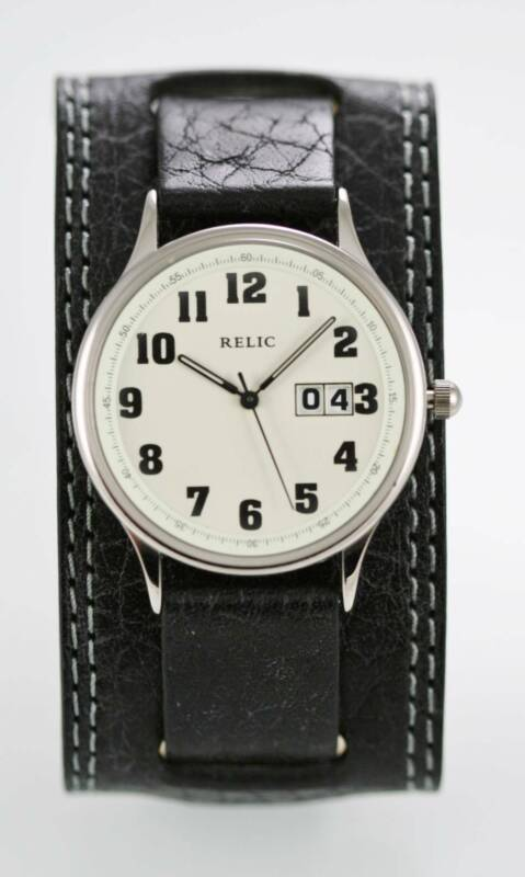 Relic Watch Mens Luminescent Date Stainless Silver Black