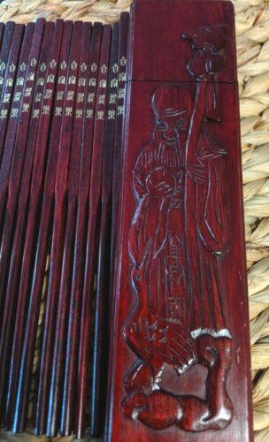 Mahogany Wood  Carved Japanese Storage Box w/16 pc Embossed Chopsticks