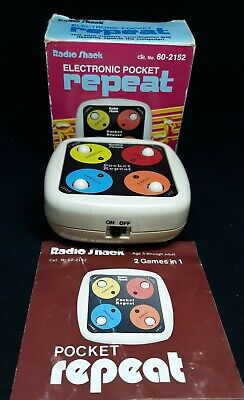 Vintage Radio Shack Electronic Pocket Repeat Game 60-2152 Box & Instructions
