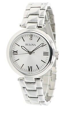 Bulova Women's Quartz 96P151 Crystal Accent Silver-Tone Bracelet 30mm Watch