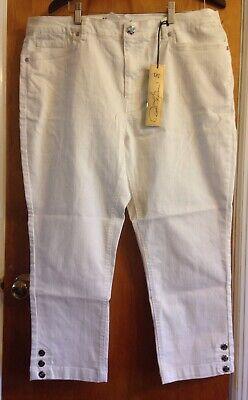 Cropped Jeans Spandex (DG2 White Button Leg Cropped Stretch Jeans 18W Cotton Poly Spandex Diane Gilman)