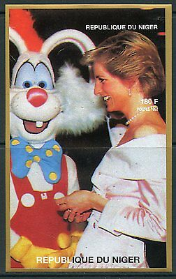 NIGER  1997 PRINCESS DIANA WITH A PERSON IN A RABBIT COSTUME IMPERF S/S  MINT NH](Famous People Costumes)