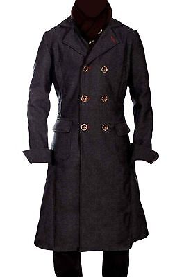 Sherlock Holmes Benedict Cumberbatch Classic Cape Wool Long Coat Jacket XXS-4XL ](Overcoat Sherlock)