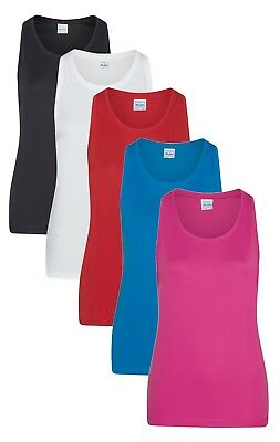 Womens Ladies Womans Girlie Smooth Polyester Vest Tank Top Sleeveless -