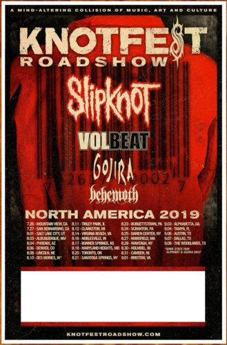 SLIPKNOT | VOLBEAT | GOJIRA | BEHEMOTH Knotfest 2019 Ltd Ed RARE New Tour Poster