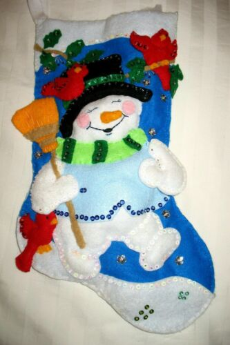 Design Works Snowman With Cardinals Christmas Stocking Finished (like Bucilla)