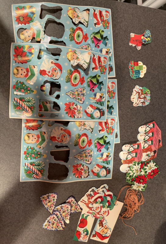 Vintage Christmas Die Cut Gummed Seals Stickers Tags Lot Holiday Craft