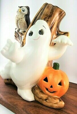 Vintage Halloween Haunted Ceramic Large Tree With Ghost Owl & Pumpkin Taiwan NOS