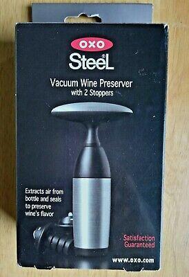 OXO Good Grips Wine Preserver Steel Vacuum and 2 Stoppers Beer Wine Bottles NIP