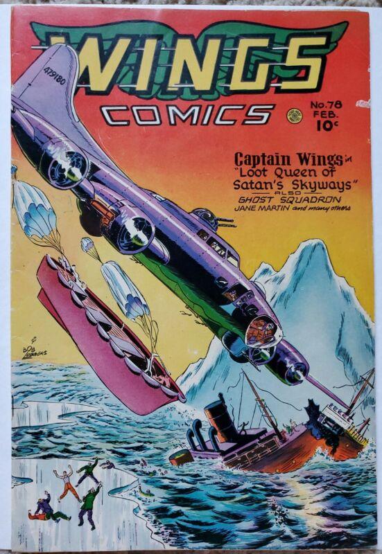 WINGS COMICS #78 FN+ 6.5 FICTION HOUSE 2/1947