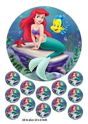 Little Mermaid Cake and Cupcake Toppers, Ariel, Disney, Flounder, Sebastian