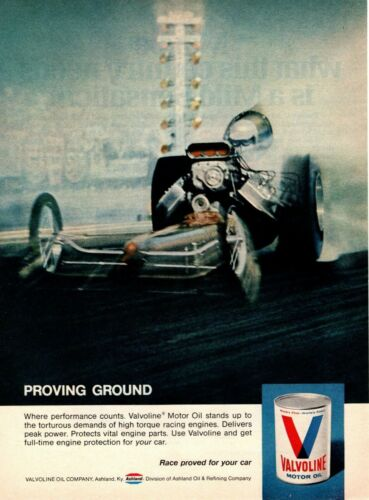 1969 Valvoline Motor Oil Ashland Kentucky Hot Rod Dragster Racing Car Print Ad