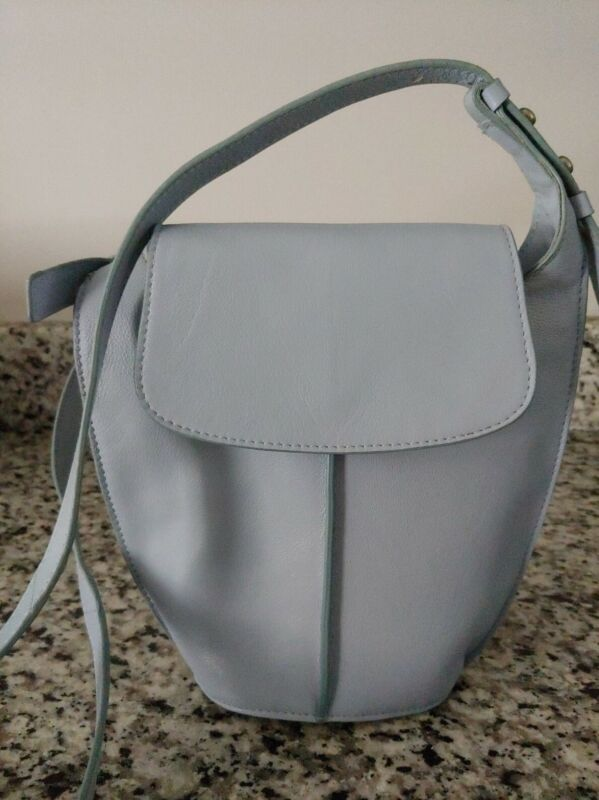 Lucky Brand It.Blue Leather Bucket Bag Magnectic Closure-mint cond. $158