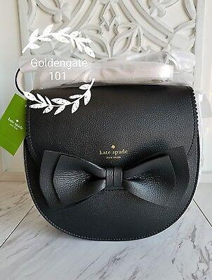 New Kate Spade Vanderbilt Place Tegan Bow Cross Body Saddle Bag Wkru4272 Black