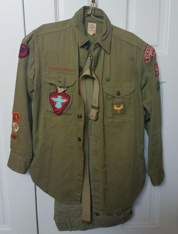 Vintage Boy Scout Uniform Shirt Pants Belt Patches Bensenville IL Trp 97 1960