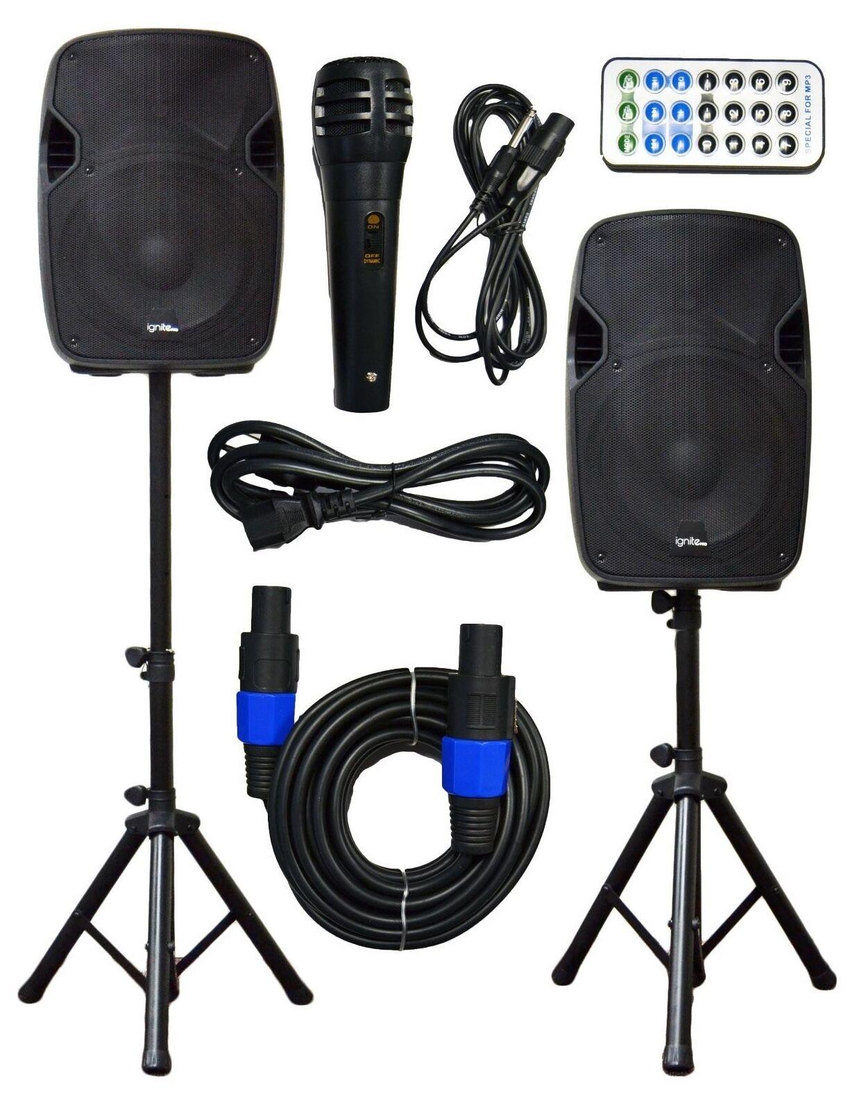 "2x Ignite Pro 12"" Pro Series Speaker DJ PA System Bluetooth Playback 2000W"