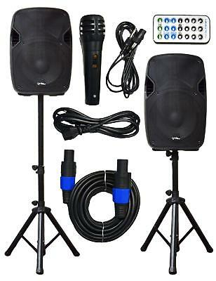 2x Ignite Pro 12'' Pro Series Speaker DJ PA System Bluetooth Playback 2000W