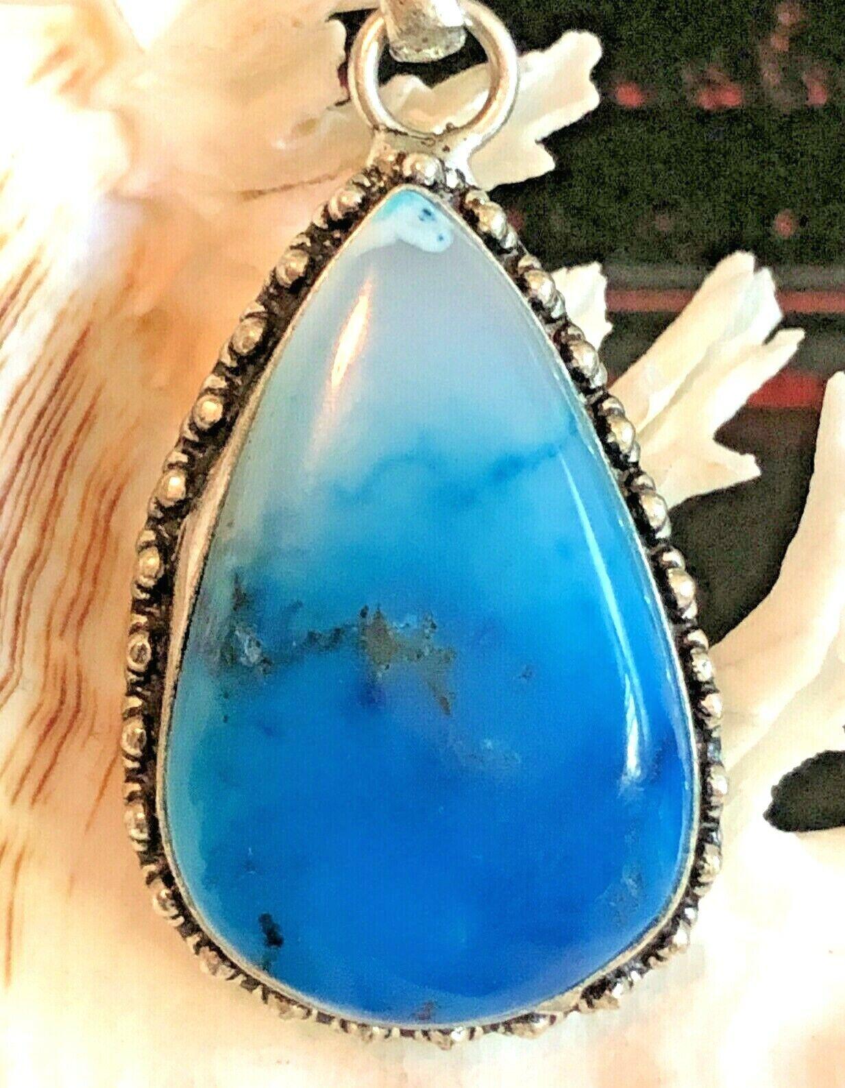 Large 2 Marine Blue Dendrite Opal Pendant Teardrop .925 Sterling Silver - $34.00