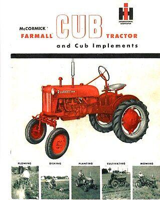 Mccormick Farmall Cub Tractor Implements 1950s Catalog Reprint