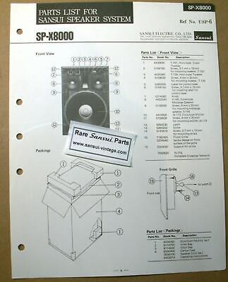 Original Part List for Sansui Speakers SP-X8000 ! segunda mano  Embacar hacia Argentina