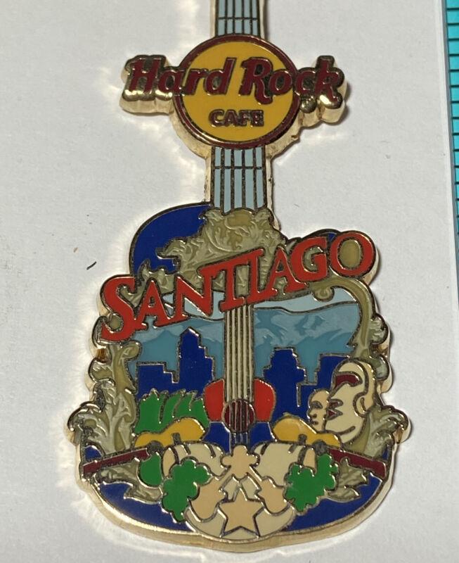 Hard Rock Cafe Keychain Santiago Chile Goldstone Guitar