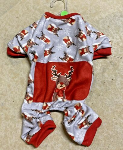 """PET SPIRIT Gray & Red Flannel Christmas PAJAMAS """"REINDEER"""" Puppy/Dog small"""