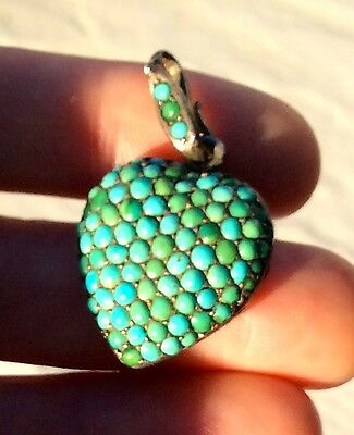 LARGE ANTIQUE VICTORIAN ENGLISH SILVER PAVE TURQUOISE HEART & LOCKET PENDANT