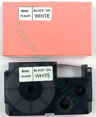 New Great Quality Compatible For Casio Tape 6mm Black On White Label Xr-6we1