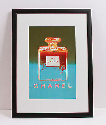 """Chanel No 5 Andy Warhol 1997 Green/Blue Limited Edition Framed Print 15.50 x 21"""""""