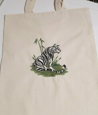 Brushstroke tiger embroidered on tote canvas shopping bag - Tiger Canvas Tote Bag
