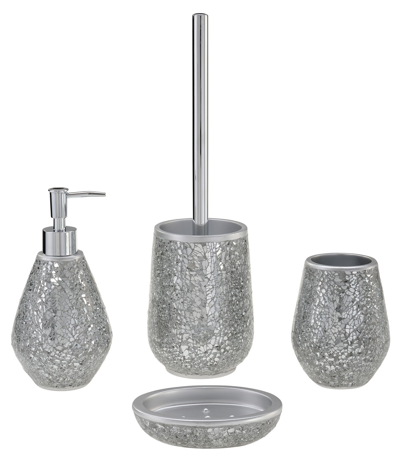 Reflexions bathroom accessory set soap dish tumbler for Mosaic bathroom decor