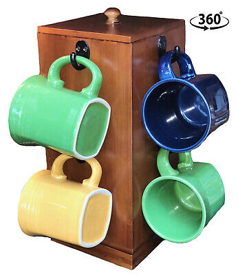 Autumn Alley Bamboo Rotating Coffee Mug Rack with Coffee Pod Storage | Built-in  Mrk Rack