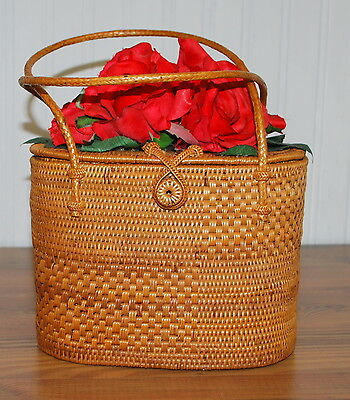 Bali Blossoms Beautiful Woven Grass Basket Purse Boutique Style Red Rose Top - Bali Style Basket