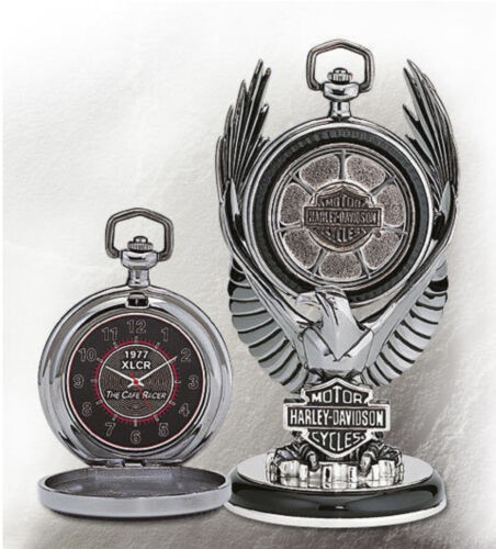 Harley Davidson Pocket Watch 1977 XLCR Cafe Racer Mint Condition NEW with Cert